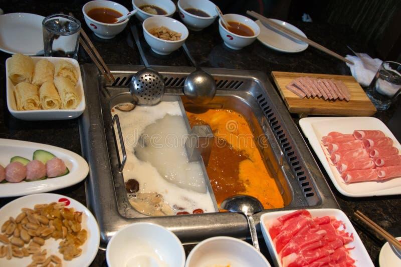 Hotpot餐馆和食品成分 库存图片
