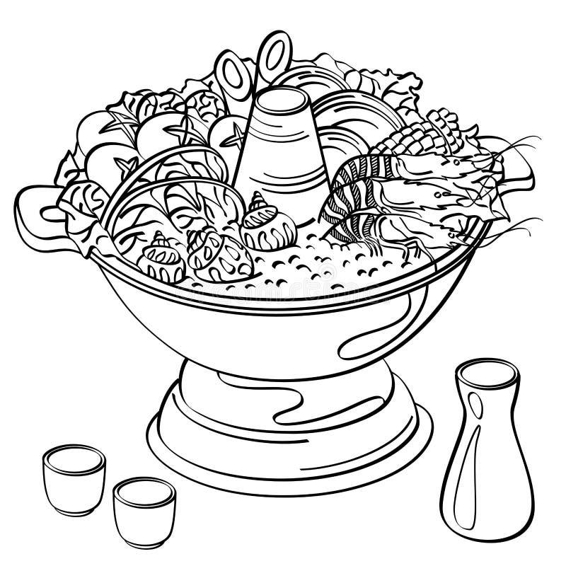 Hotpot jedzenie royalty ilustracja