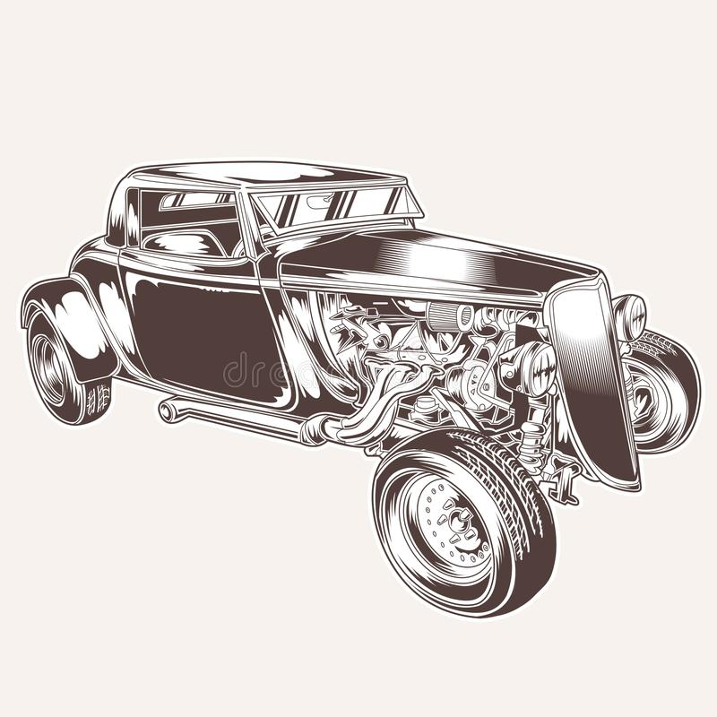 HotRod Car Classic vintage vector logo tshirt motor ratrodvector design illustration royalty free illustration