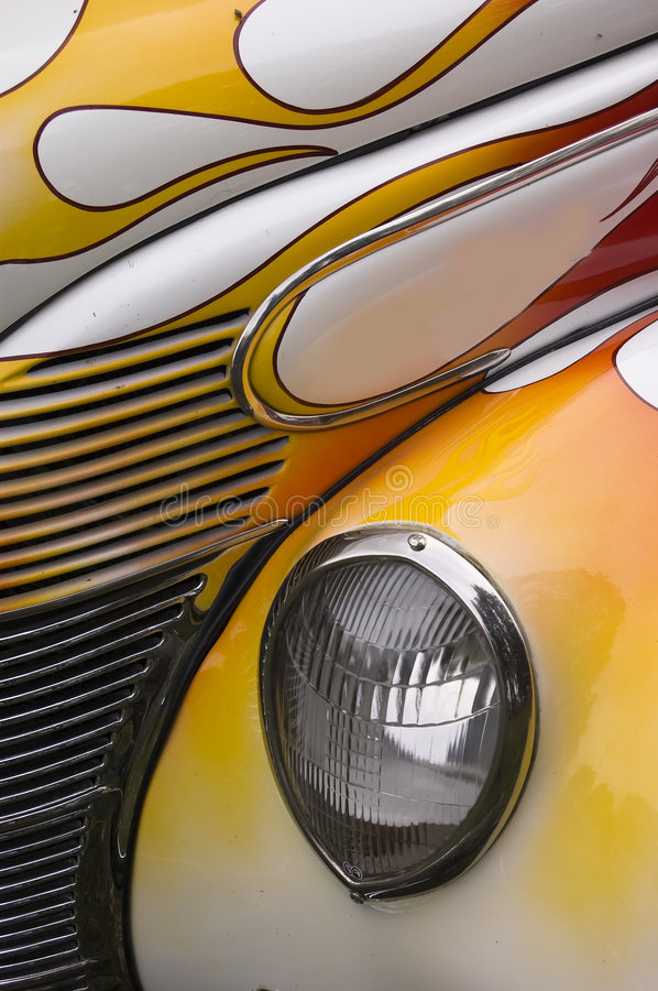 Hotrod Flames Abstract. A close up of a hotrod with a nice paint job royalty free stock images