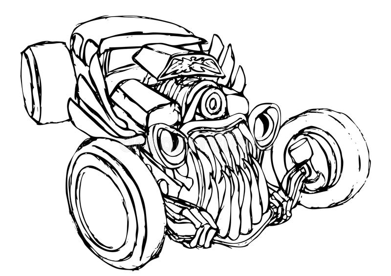Hotrod monsterkontur royaltyfri illustrationer