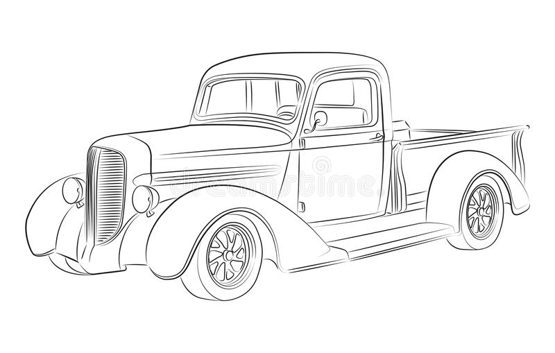 hotrod pickup drawing stock photos