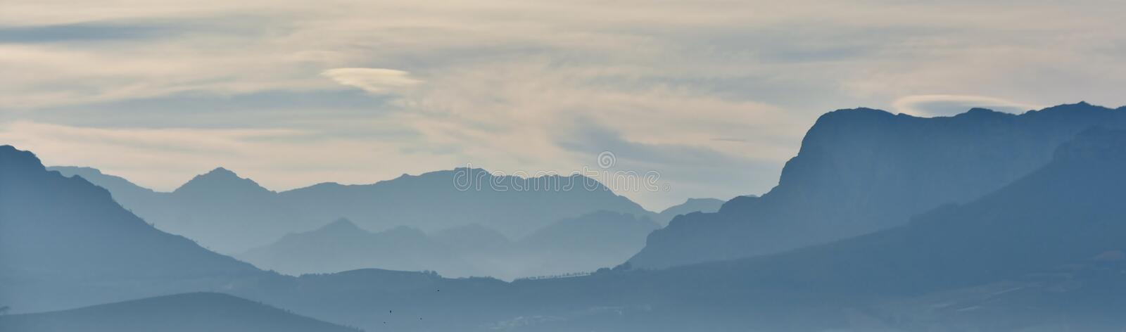 Hottentots Holland Mountains. Landscape with the Hottentots Holland Mountains in morning light royalty free stock photos