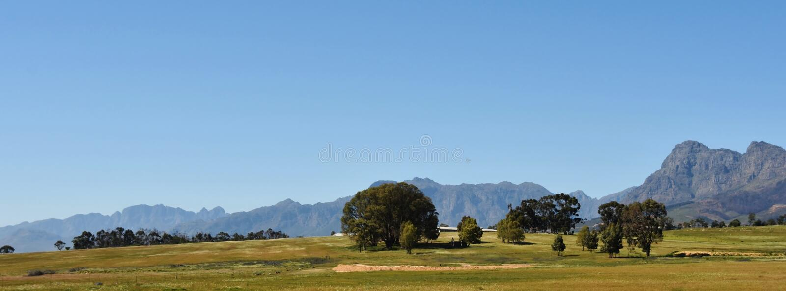 Hottentots Holland Mountains. Landscape with the Hottentots Holland Mountains and trees on a meadow stock images