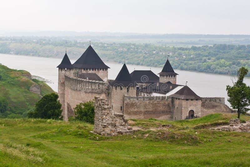 Hotyn堡垒,乌克兰视图  图库摄影