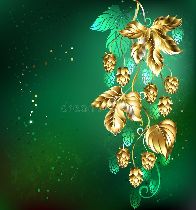 Houblon d'or sur un fond vert illustration libre de droits