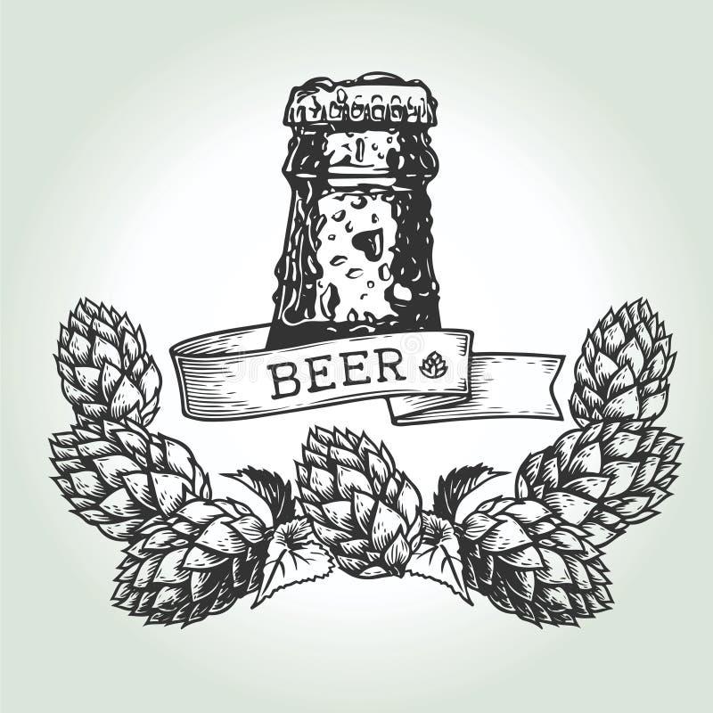 Houblon de baisse de bière illustration stock