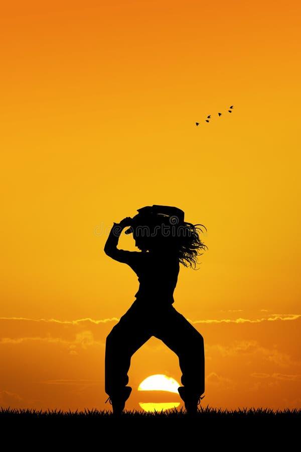 Houblon de hanche au coucher du soleil illustration stock