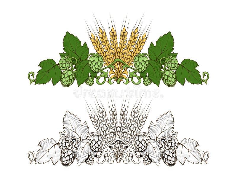Houblon et illustration de vecteur d'ornement d'orge illustration libre de droits