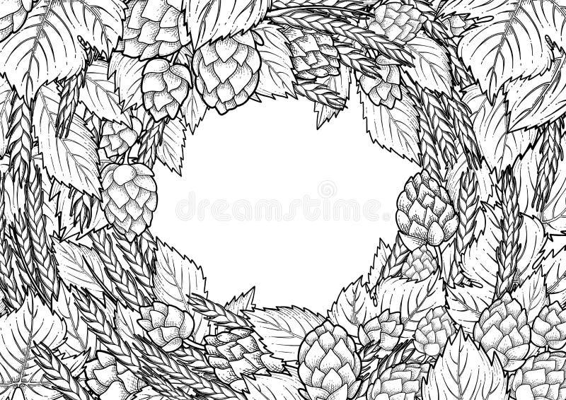 Houblon et malt graphiques illustration de vecteur