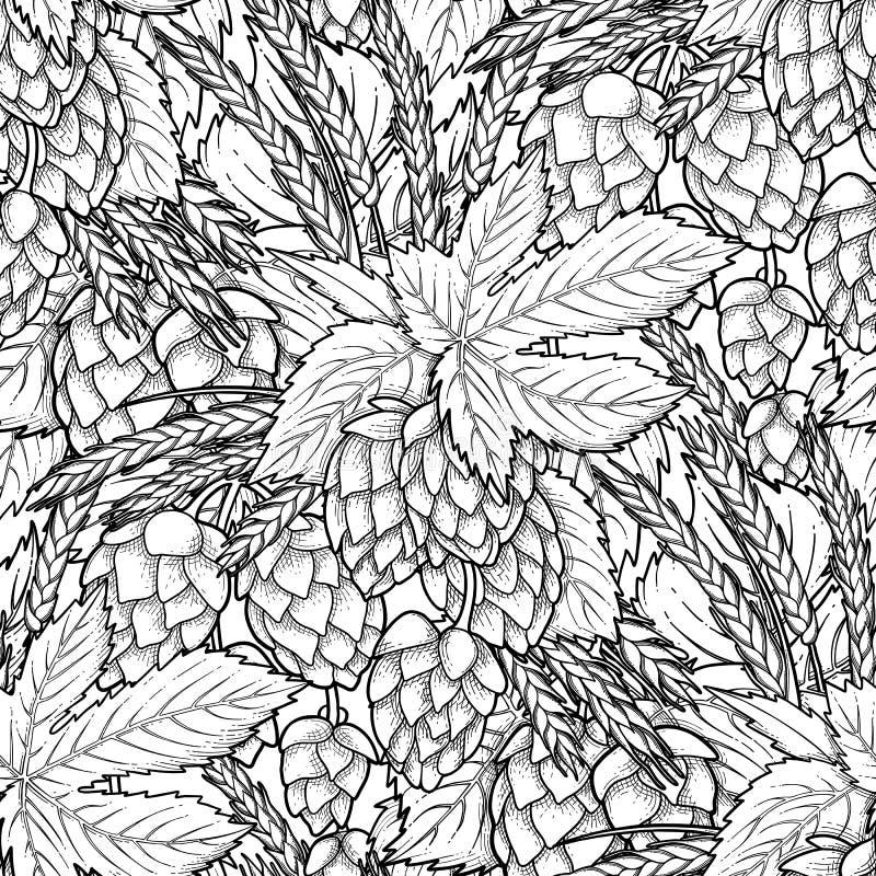 Houblon et malt graphiques illustration stock
