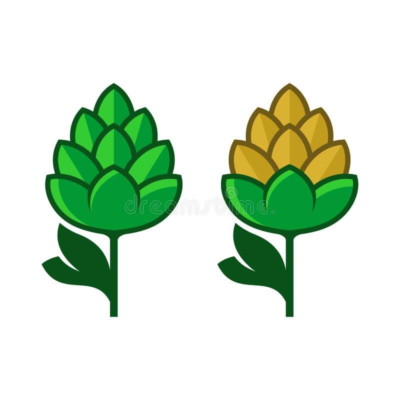 Houblon Logo Icon Set Vecteur plat de style illustration stock