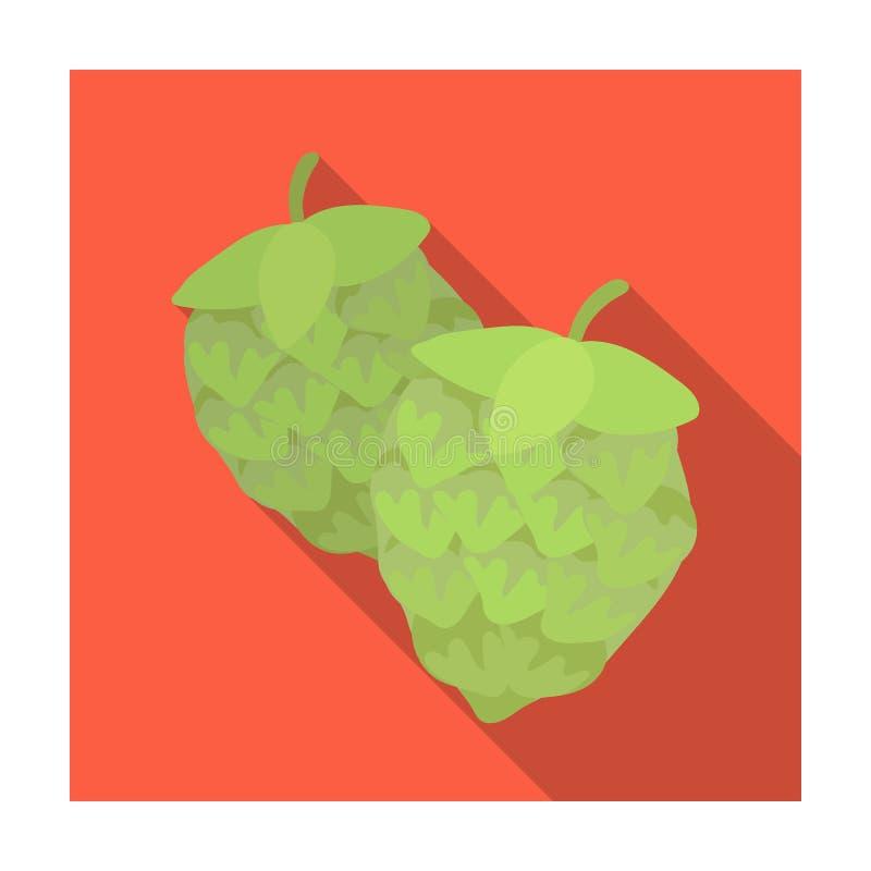 Houblon verts Usine pour la bière de brassage La composante principale de la bière Icône simple de bar en stock plat de symbole d illustration libre de droits