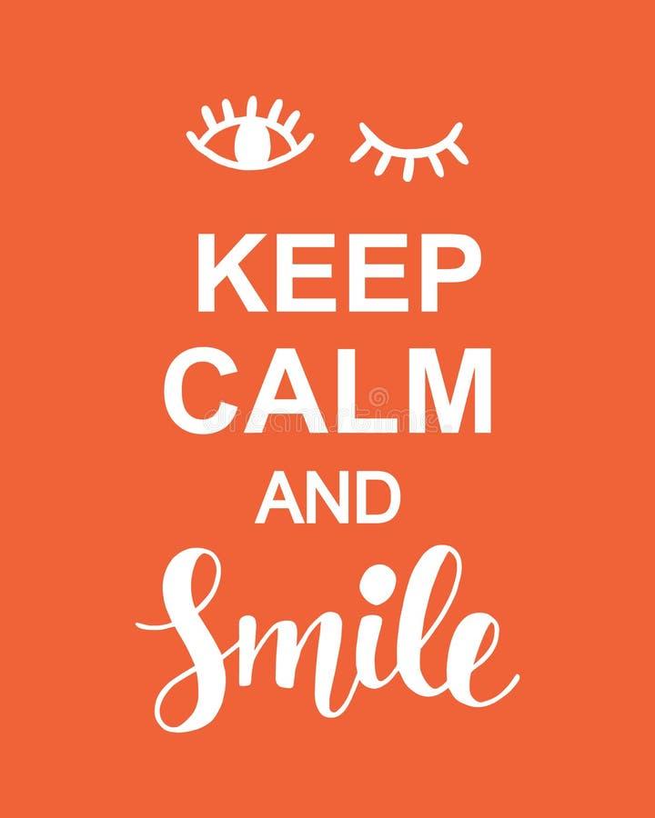 Houd affiche van de Kalme en Glimlach de Positieve Typografie vector illustratie