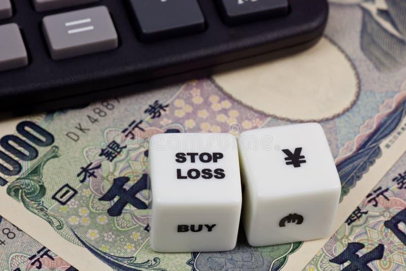 Houd de Japanse Yen van het verlies tegen stock foto