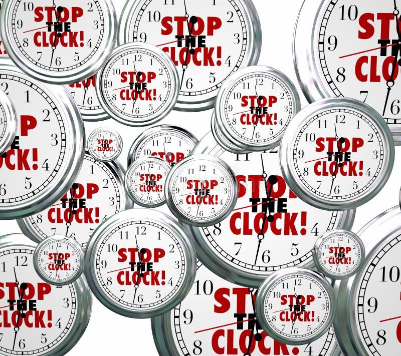 Houd de Vrije tijd van Klokwoorden uit tegen pauzeren Onderbreking vector illustratie