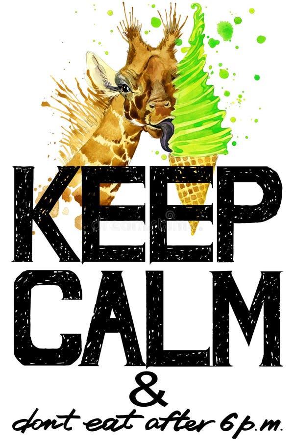 Houd kalm De illustratie van de girafwaterverf royalty-vrije illustratie