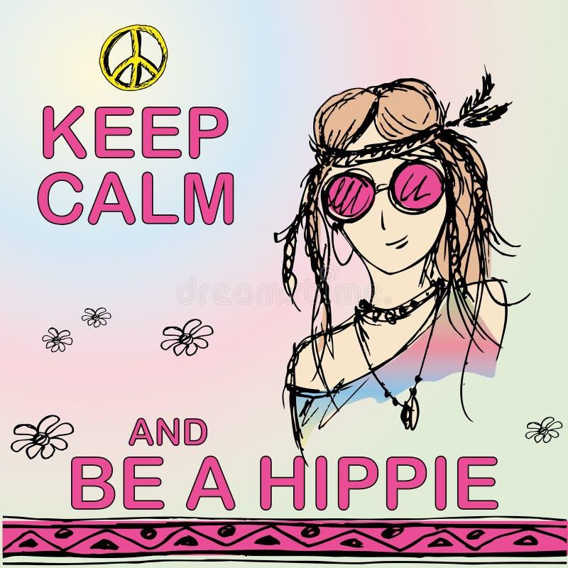 Houd kalm en ben hippie Meisjeshippie vector illustratie