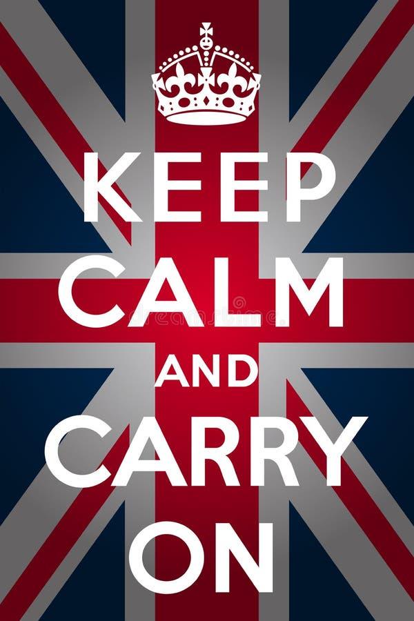 Houd kalm en draag - Union Jack vector illustratie