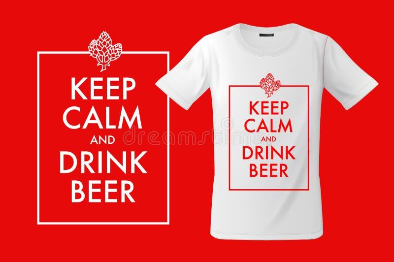 Houd kalm en drink bier Druk op T-shirts, sweatshirts en herinneringen, gevallen voor mobiele telefoons, vectorillustratie royalty-vrije illustratie