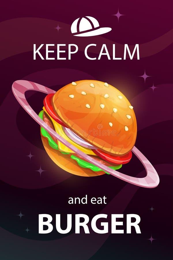 Houd kalm en eet hamburger Grappige het voedselaffiche van de beeldverhaalmotivatie royalty-vrije illustratie