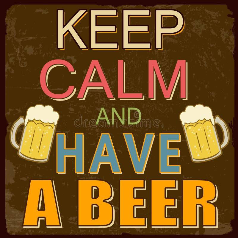 Houd kalm en hebben een bieraffiche vector illustratie
