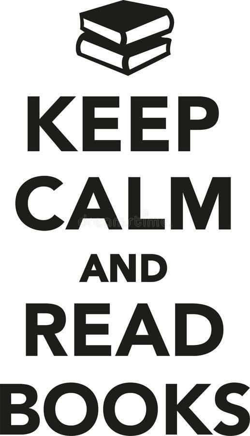 Houd kalm en lees boeken stock illustratie