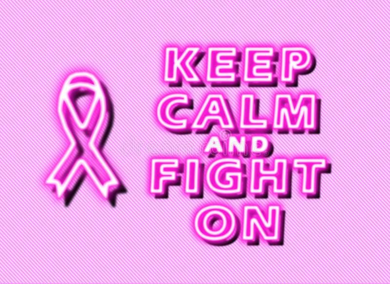 Houd kalm en strijd op borstkanker royalty-vrije illustratie