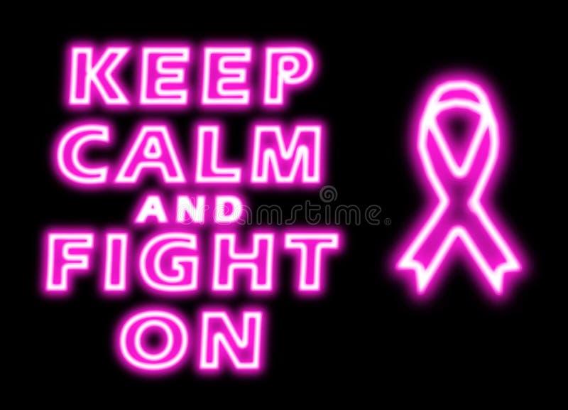 Houd kalm en strijd op borstkanker stock illustratie
