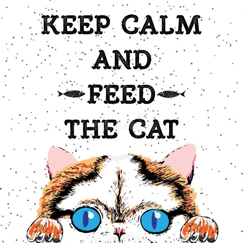Houd kalm en voed de kat vector illustratie
