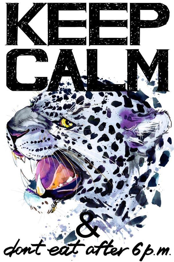 Houd kalm Luipaard watercolorr illustratie stock illustratie