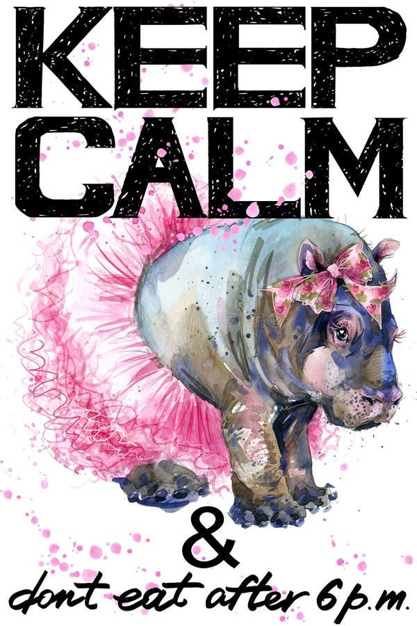 Houd kalm Nijlpaard watercolorr illustratie stock illustratie