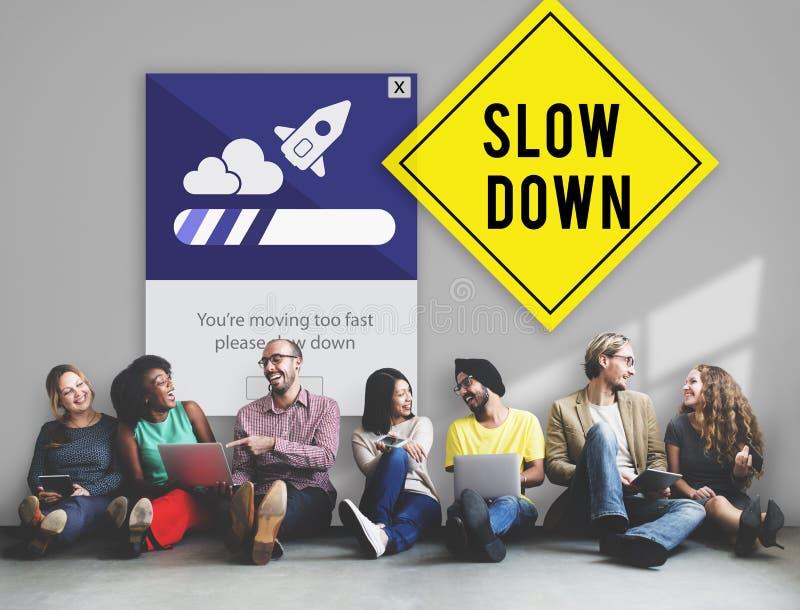 Houd Kalm verminderen Snelheid ontspannen Ver*tragen Concept stock fotografie