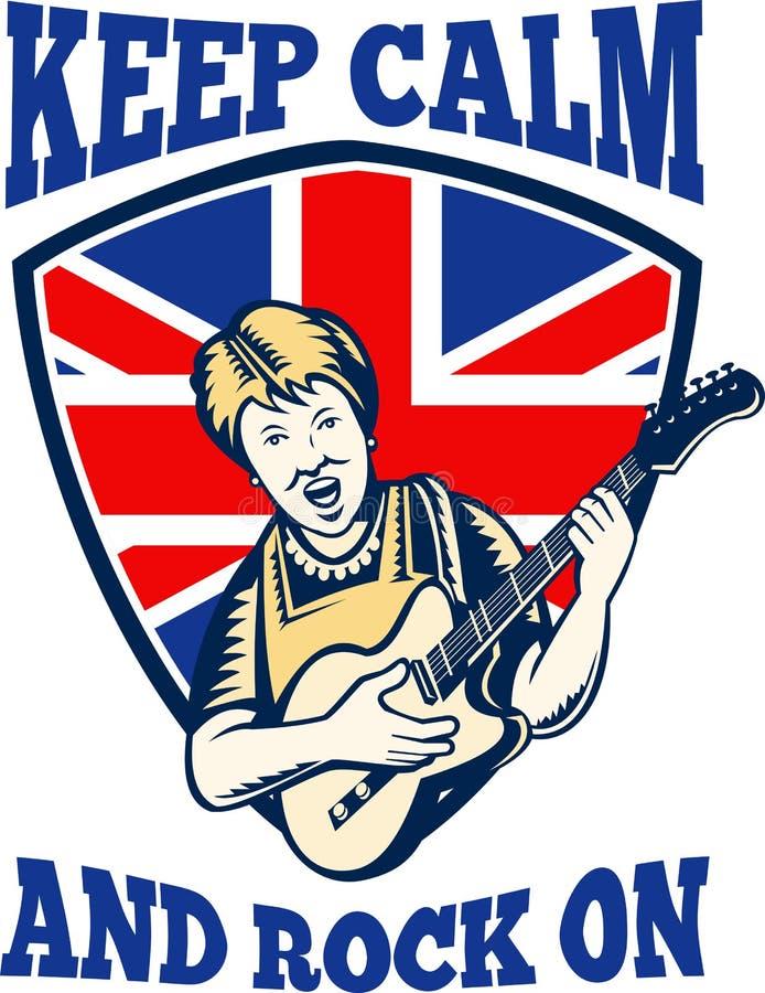 Houd Kalme Rots op Britse Vlag Koningin Granny Guitar vector illustratie