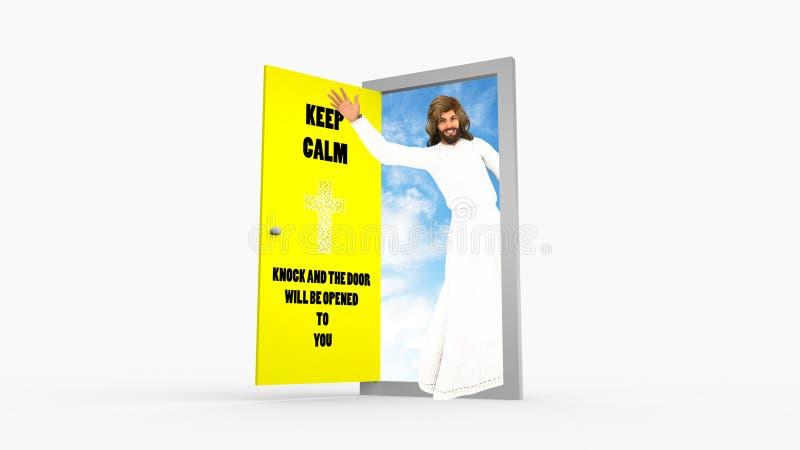 Houd Kalme Slagdeur Jesus Christ Waving Illustration vector illustratie
