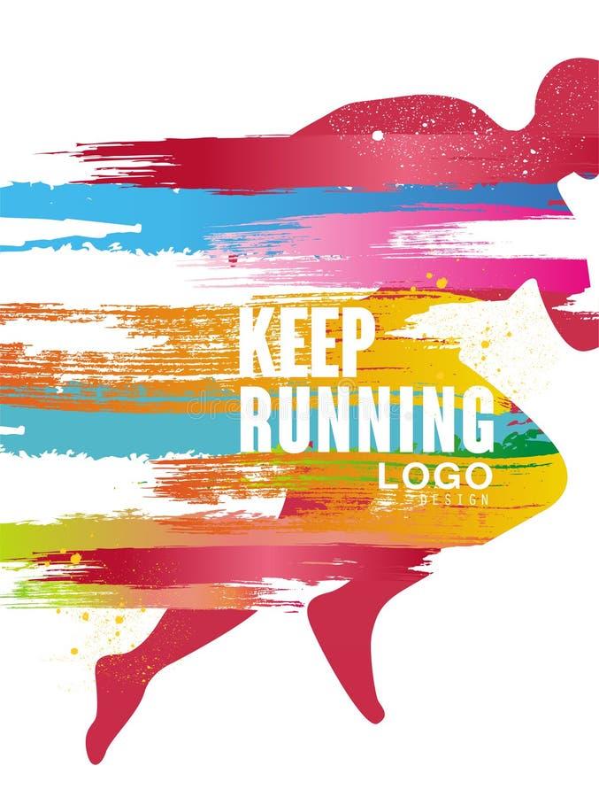 Houd lopend embleem gesign, kleurrijk affichemalplaatje voor sportevenement, marathon, kampioenschap, kan voor kaart, banner word vector illustratie
