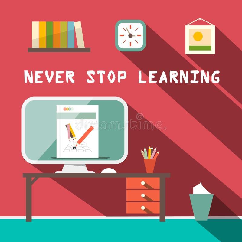 Houd nooit op lerend Slogan vector illustratie