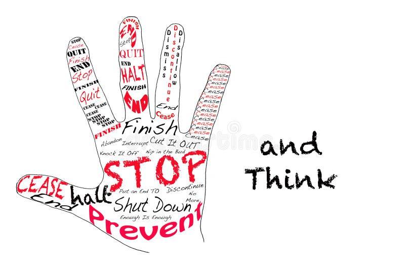 Houd op en denk stock illustratie