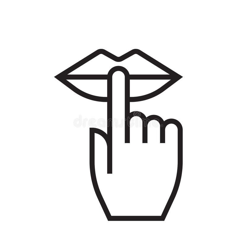 Houd stilte en ben stille lippen en vinger geen lawaai vectorpictogram royalty-vrije illustratie