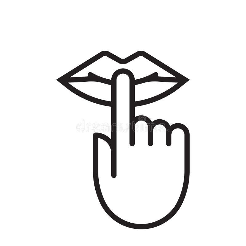 Houd stilte is stil de vinger stil teken van mondlippen, geen lawaai vectorpictogram royalty-vrije illustratie