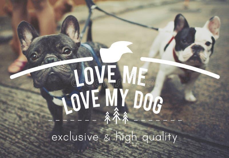 Houd van me Liefde Mijn de Ideeënconcept van Hond Onbezorgd Voorwaarden royalty-vrije stock afbeeldingen