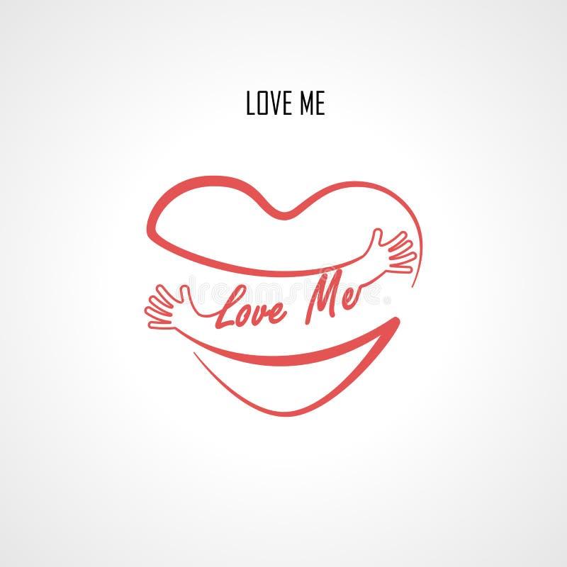 Houd van me typografische ontwerpelementen en de Rode hartvorm met hand omhelst Omhelzingen en Liefde zelf teken stock illustratie