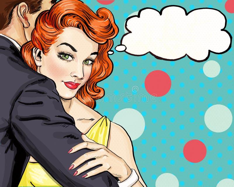 Houd van paar Pop Art Couple Pop-artliefde De prentbriefkaar van de valentijnskaartendag De scène van de Hollywoodfilm De liefde  vector illustratie