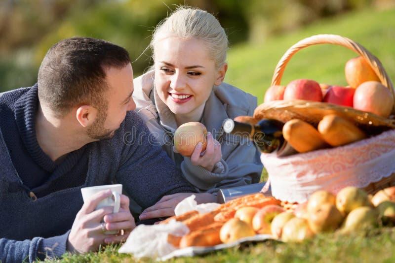 Houdend van jong glimlachend paar die zoals hebbend picknick babbelen stock afbeeldingen