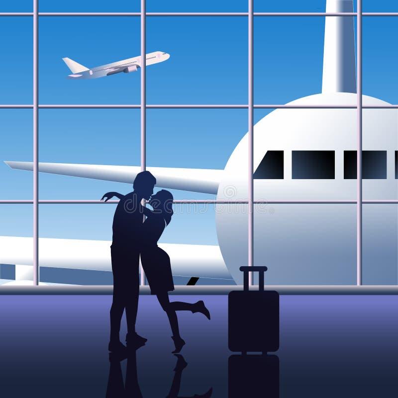 Houdend van paar bij de luchthaven, vectorkleurenillustratie stock illustratie