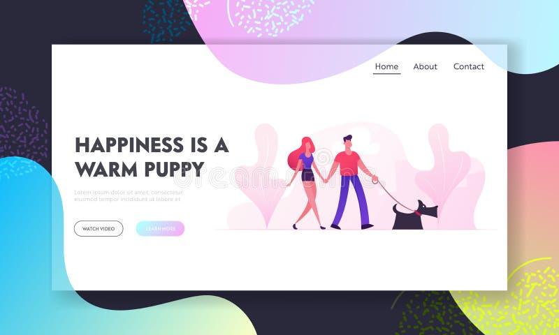 Houdend van Paar die met Hond in de Websitelandingspagina van het Stadspark lopen Het jonge Familie Spelen met Huisdier die in op stock illustratie