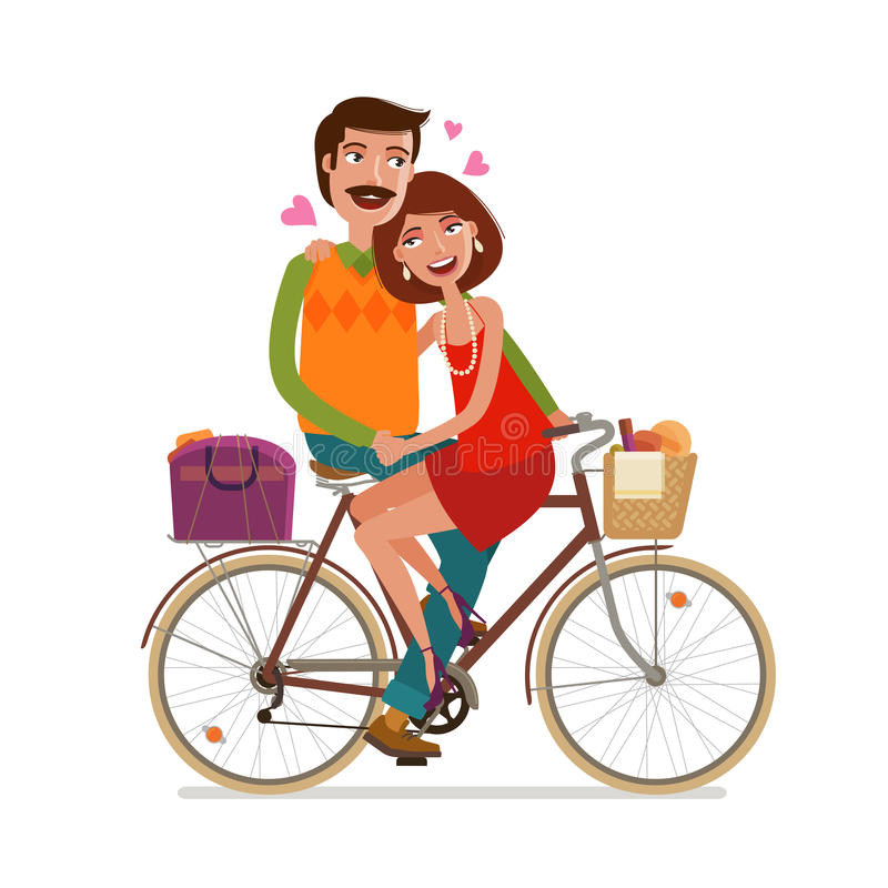 Houdend van paar die op picknick door fiets berijden De vectorillustratie van het beeldverhaal vector illustratie