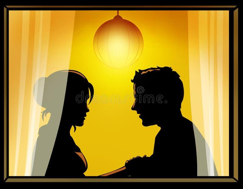 Houdend van paar door het venster stock illustratie