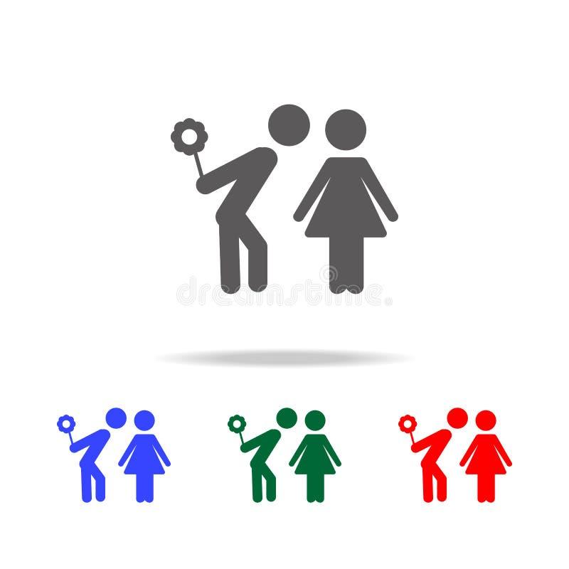 houdend van paar met huidenbloem in zijn pictogram van de hand bevindend Liefde Elementen van familie multi gekleurde pictogramme royalty-vrije illustratie