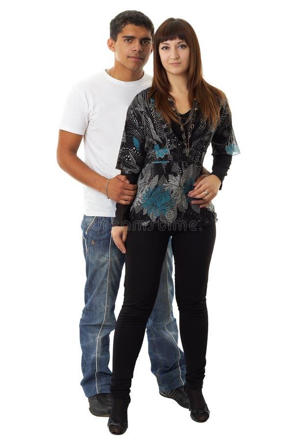 Houdend van paar op een witte achtergrond. stock afbeelding